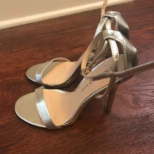 Silver Ankle Strap Heels
